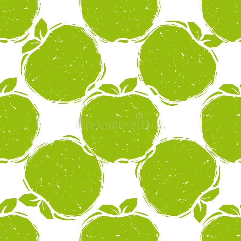 Nahtloses Muster von grünen Äpfeln stock abbildung