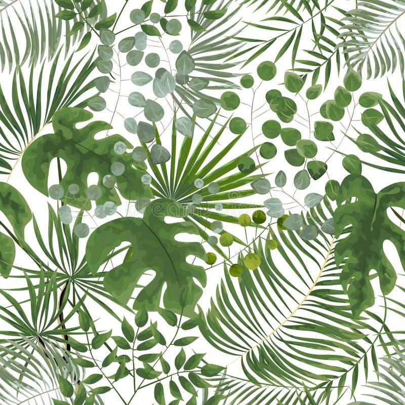 Nahtloses Muster von grünen Blättern grüner tropischer Hintergrund in w stockfotografie