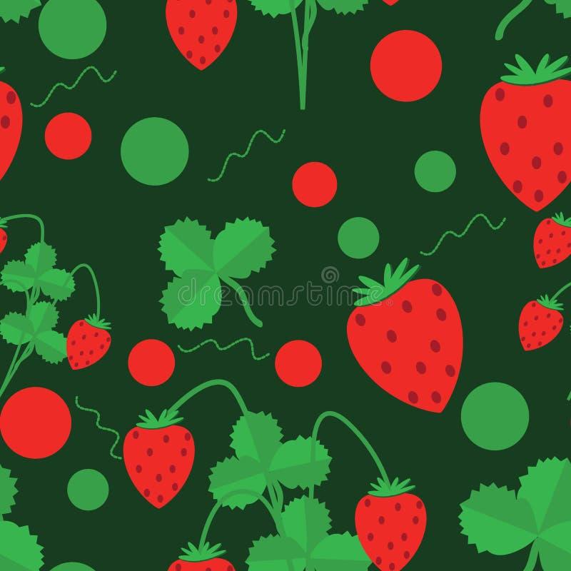 Nahtloses Muster von grünen Blättern und von Erdbeeren vektor abbildung