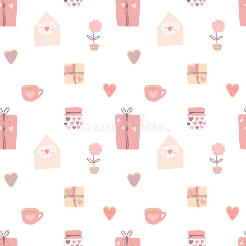 Nahtloses Muster von Hand gezeichneten Liebesherzen, Geschenke, Plätzchen, Schalen, Buchstaben Vektorbild für Valentinstag, Liebh stock abbildung