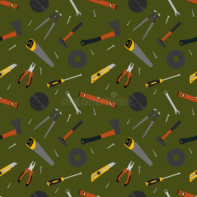 Nahtloses Muster von Handarbeitswerkzeugen für das Errichten und Reparatur vektor abbildung