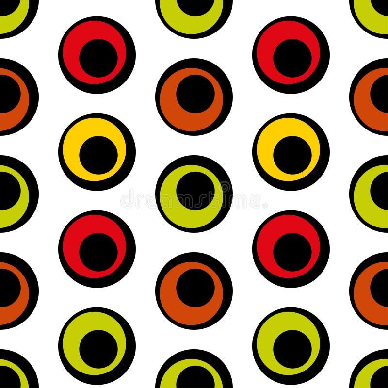 Nahtloses Muster von Kreisen im Retrostil stockbilder