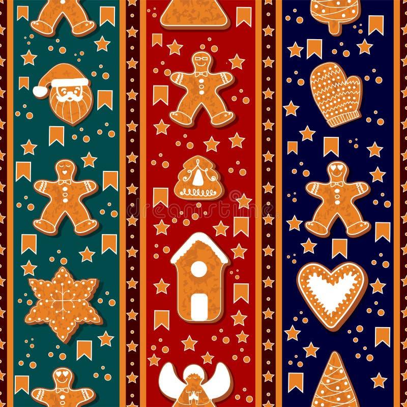 Nahtloses Muster von Lebkuchencharakteren Auch im corel abgehobenen Betrag Glückliches Winterurlaubplakat Neues Jahr stock abbildung
