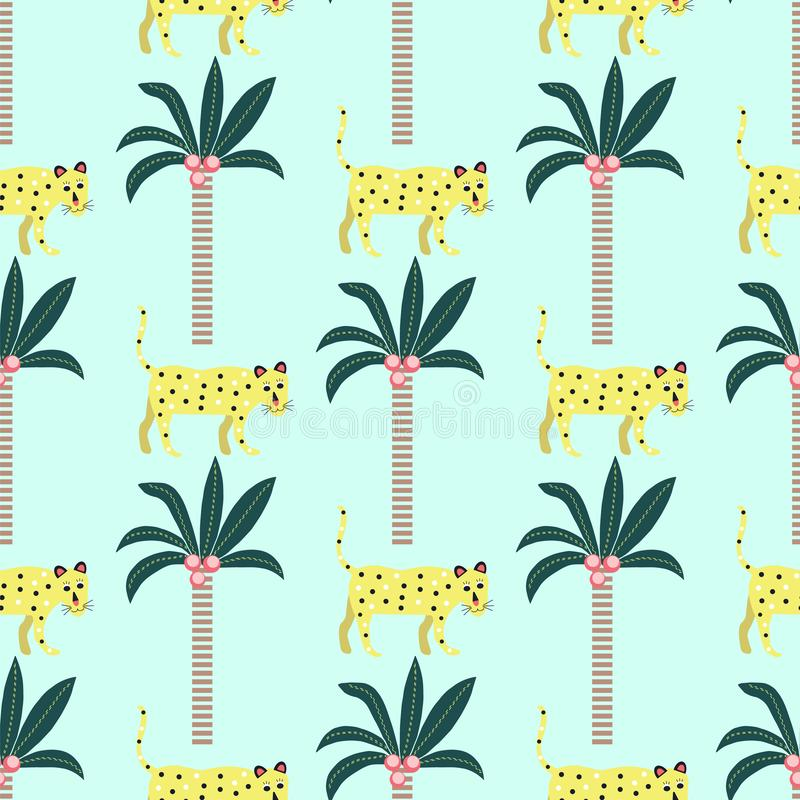Nahtloses Muster von Leoparden und von Palmen auf einem blauen Hintergrund lizenzfreie abbildung