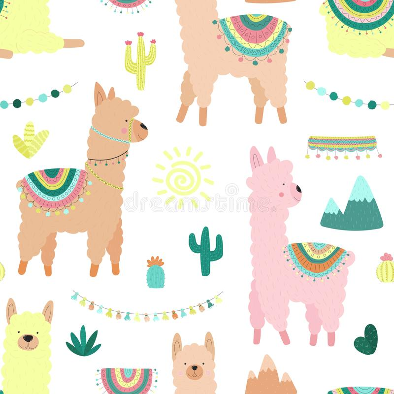 Nahtloses Muster von mehrfarbigen Lamas oder Alpakas, Berge, Kakteen, Girlande und Sonne auf einem transparenten Hintergrund Bild stock abbildung