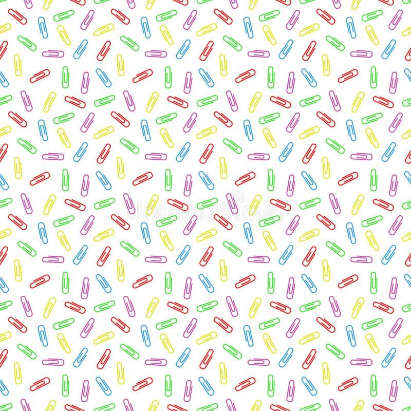 Nahtloses Muster von multi farbigen Büroklammern stock abbildung