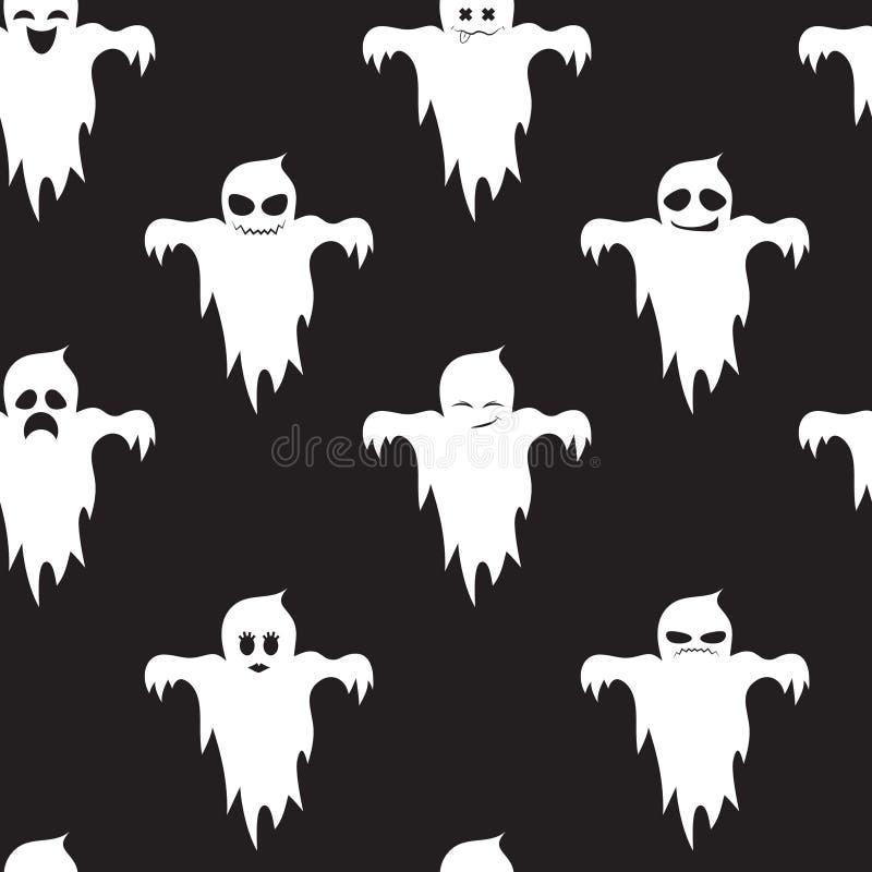 Nahtloses Muster von netten Geistern mit verschiedenen Gefühlen Auf einem schwarzen Hintergrund Halloween vektor abbildung