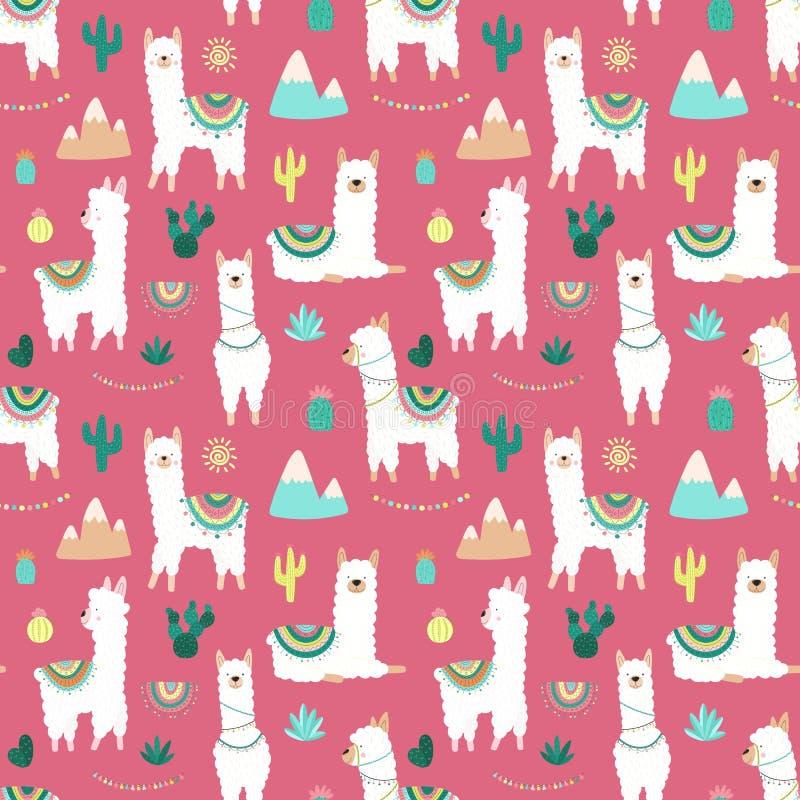 Nahtloses Muster von netten von Hand gezeichneten weißen Lamas oder von Alpakas, Kakteen, Berge, Sonne, Girlanden auf einem rosa  vektor abbildung