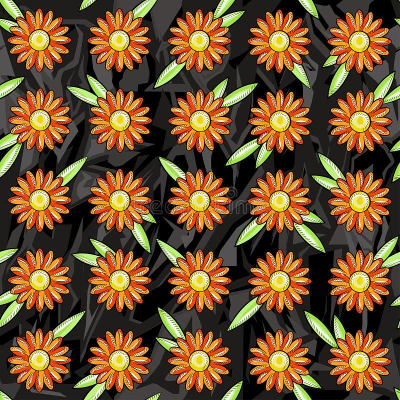 Nahtloses Muster von orange Gänseblümchen auf einem schwarzen grauen Hintergrund von rauen Zahlen lizenzfreie abbildung