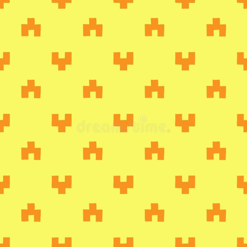 Nahtloses Muster von orange geometrischen Zahlen stock abbildung