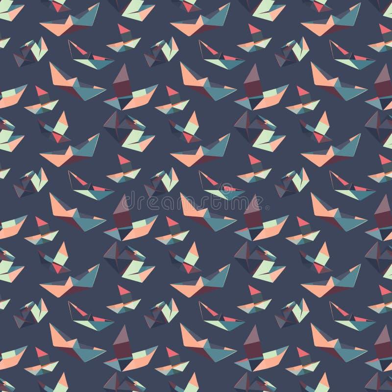 Nahtloses Muster von Papierbooten stock abbildung