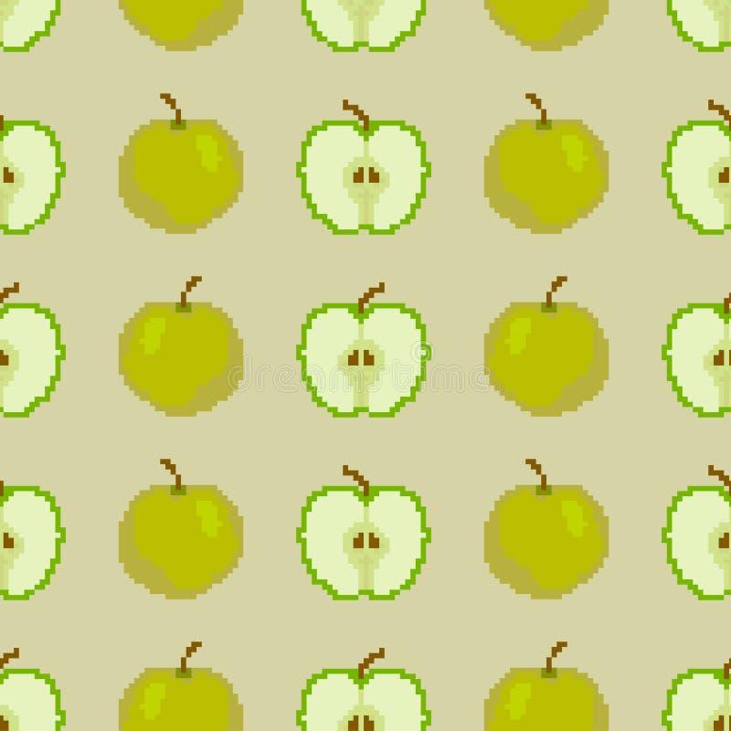 Nahtloses Muster von ?pfeln Pixel-Stickerei Vektor lizenzfreie abbildung