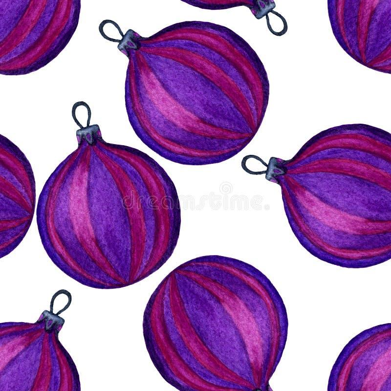 Nahtloses Muster von purpurroten Weihnachtsbällen Watercolourillustration von handgemaltem Dekorative Dekorationen des Feiertags stock abbildung