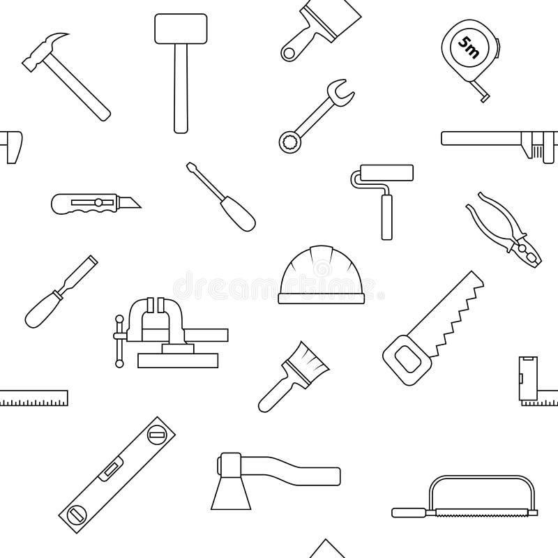 Nahtloses Muster von Reparaturwerkzeugikonen Hauptreparaturzeichen vektor abbildung