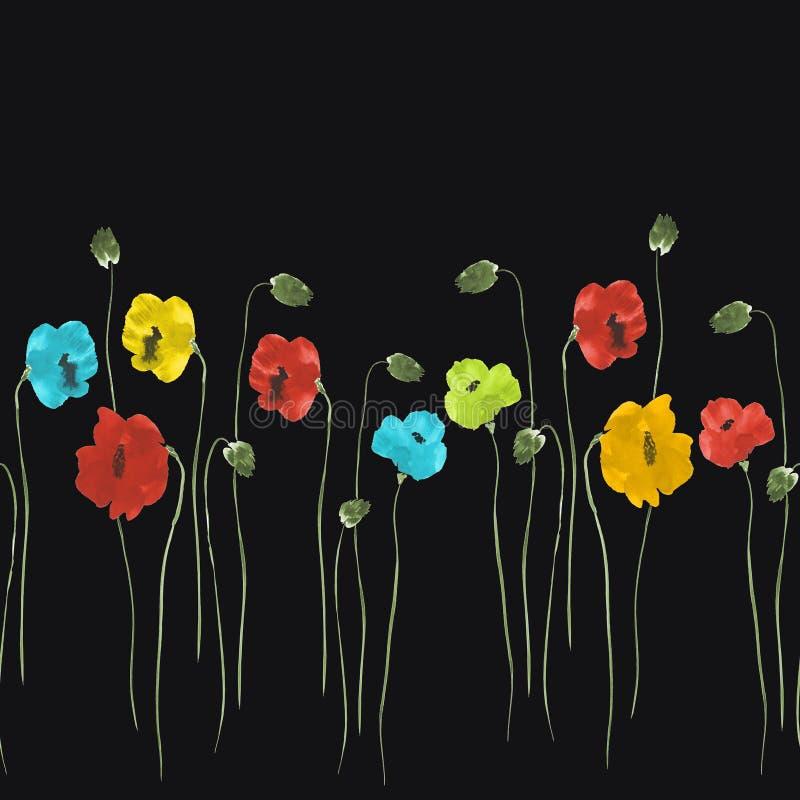 Nahtloses Muster von roten, blauen, gelben Blumen auf dem schwarzen Hintergrund Aquarell -2 lizenzfreie abbildung