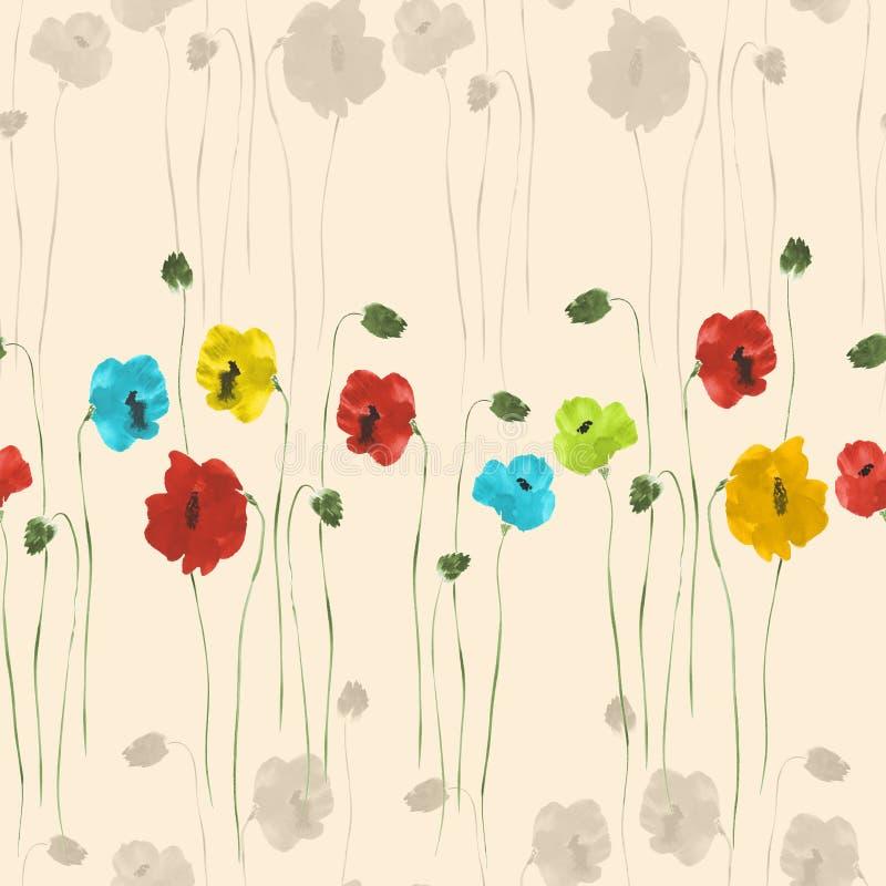 Nahtloses Muster von roten, blauen, gelben, grünen und beige Blumen auf einem hellen beige Hintergrund watercolor vektor abbildung