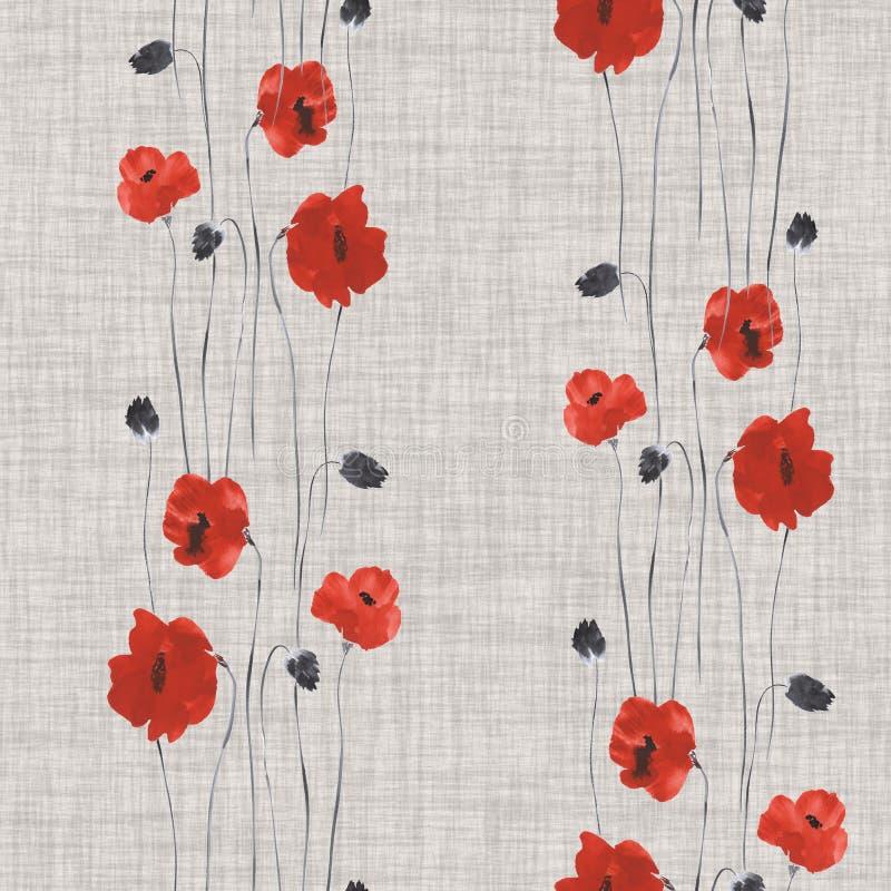 Nahtloses Muster von roten Blumen von Mohnblumen auf einem grauen Hintergrund Aquarell -2 stock abbildung