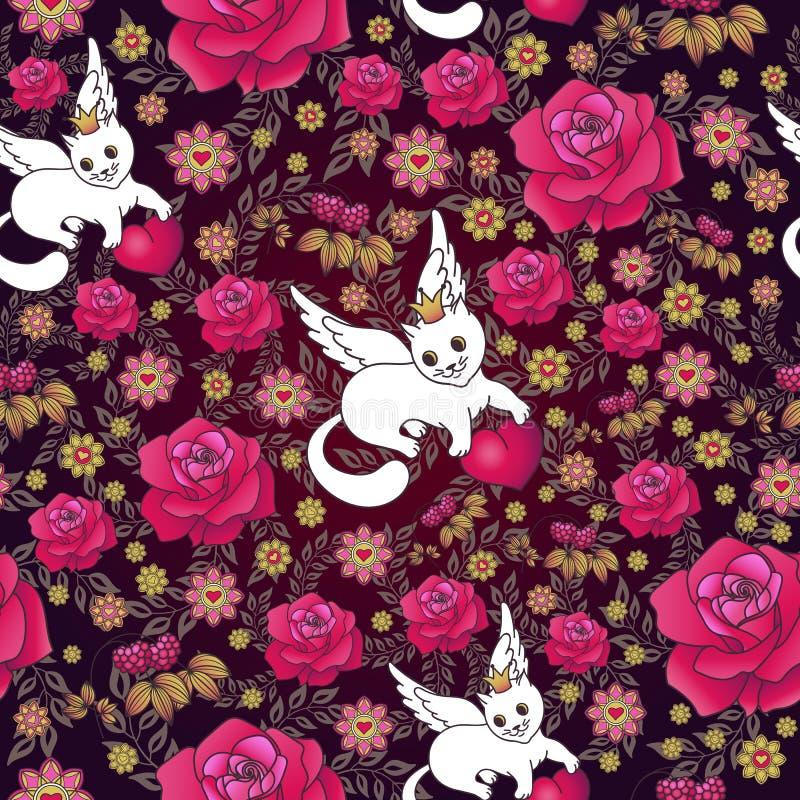 Nahtloses Muster von roten Rosen und von weißen Katzen mit Herzen lizenzfreie abbildung