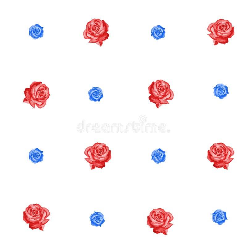 Nahtloses Muster von roten und blauen Rosen von verschiedenen Größen auf einem weißen Hintergrund vektor abbildung