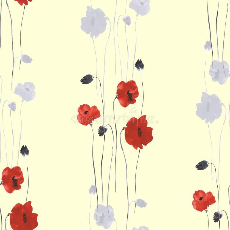 Nahtloses Muster von roten und grauen Blumen der Mohnblume auf einem hellgelben Hintergrund watercolor stock abbildung
