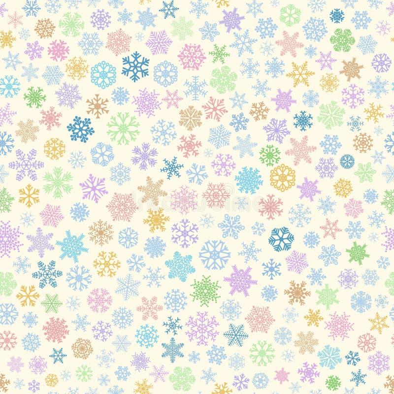 Nahtloses Muster von Schneeflocken, mehrfarbig auf Beige lizenzfreie abbildung