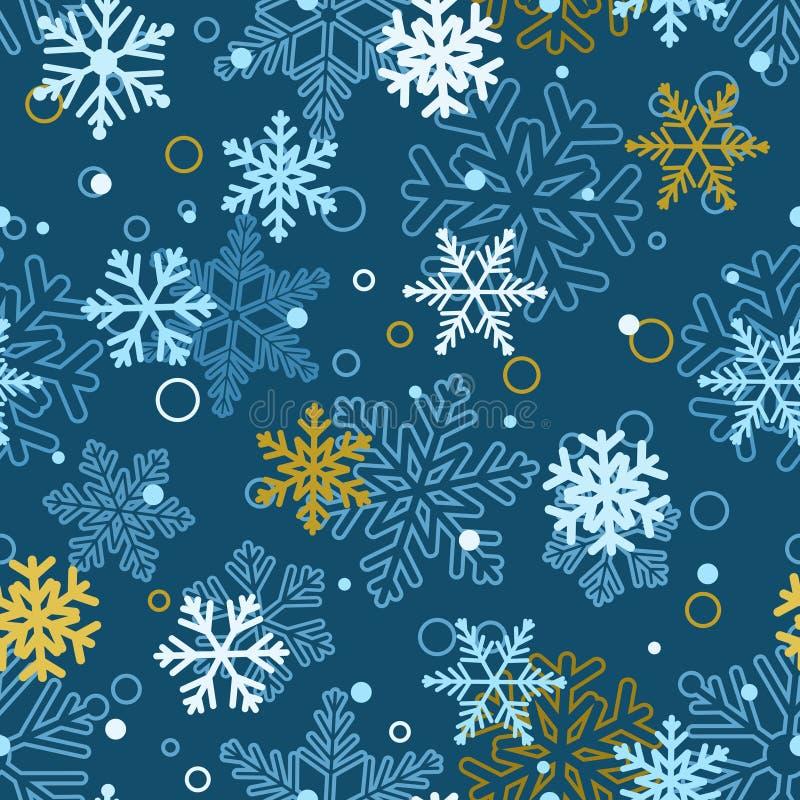 Nahtloses Muster von Schneeflocken, mehrfarbig auf Blau stock abbildung