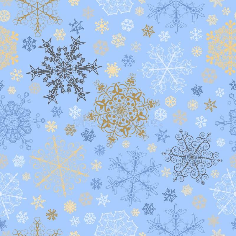 Nahtloses Muster von Schneeflocken, mehrfarbig auf hellblauem stock abbildung