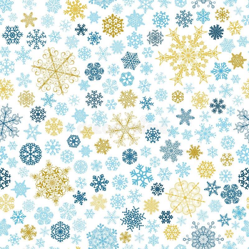 Nahtloses Muster von Schneeflocken, mehrfarbig auf Weiß vektor abbildung