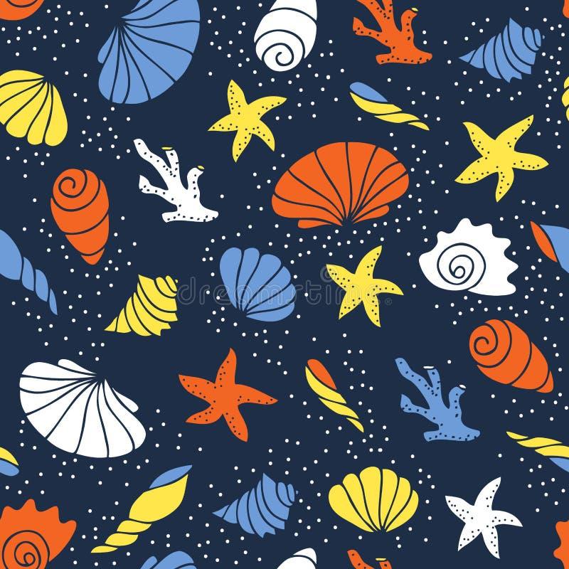 Nahtloses Muster von Seashells stockbilder