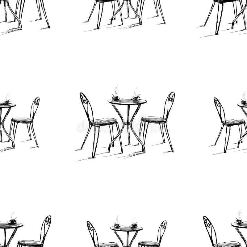 Nahtloses Muster von Skizzen von Tabellen und Stühle von Freien caffee stock abbildung