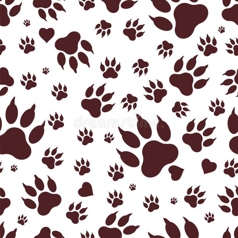 Nahtloses Muster von Spuren von Hund-` s Tatzen Vektor lizenzfreie abbildung