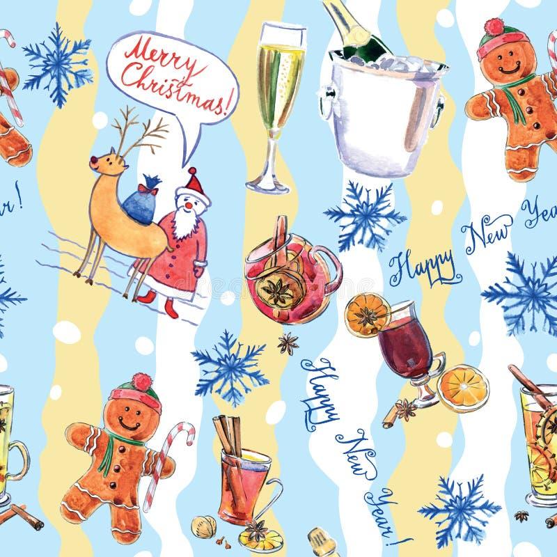 Nahtloses Muster von Symbolen von Weihnachten und von neuem Jahr lizenzfreie abbildung