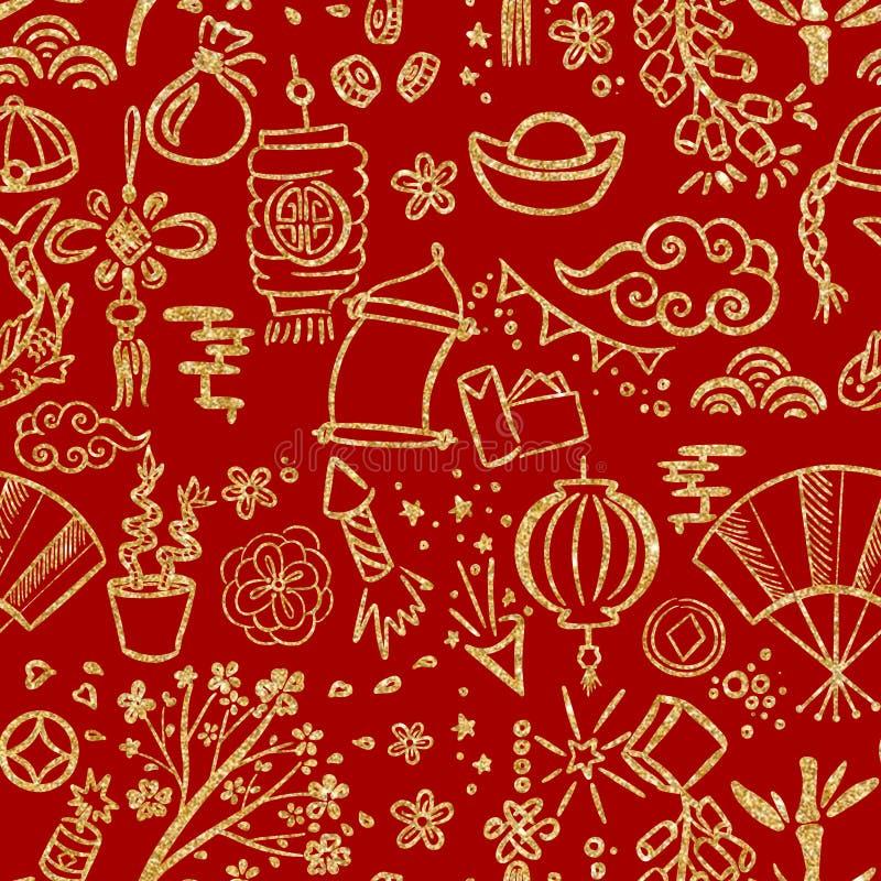 Nahtloses Muster von traditionellen Symbolen von Dekorationen des Chinesischen Neujahrsfests, Geschenke, Nahrung Gekritzelartzeic stock abbildung
