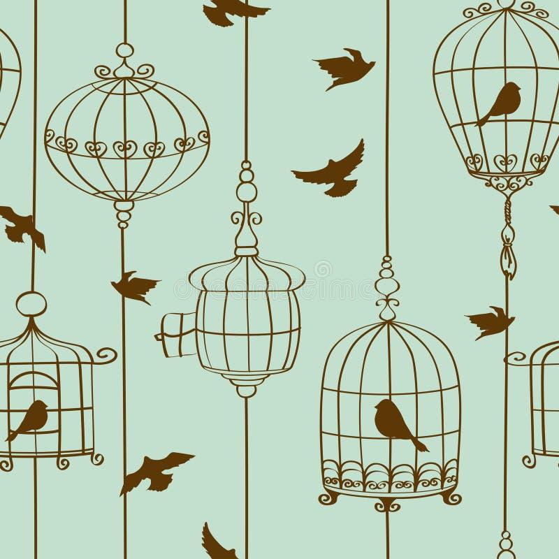 Nahtloses Muster von Vögeln und von Käfigen lizenzfreie abbildung
