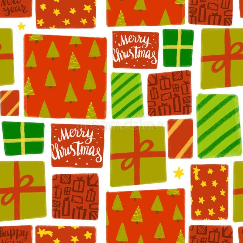 Nahtloses Muster von verschiedenen Geschenkboxen im roten und Grünbuch vektor abbildung