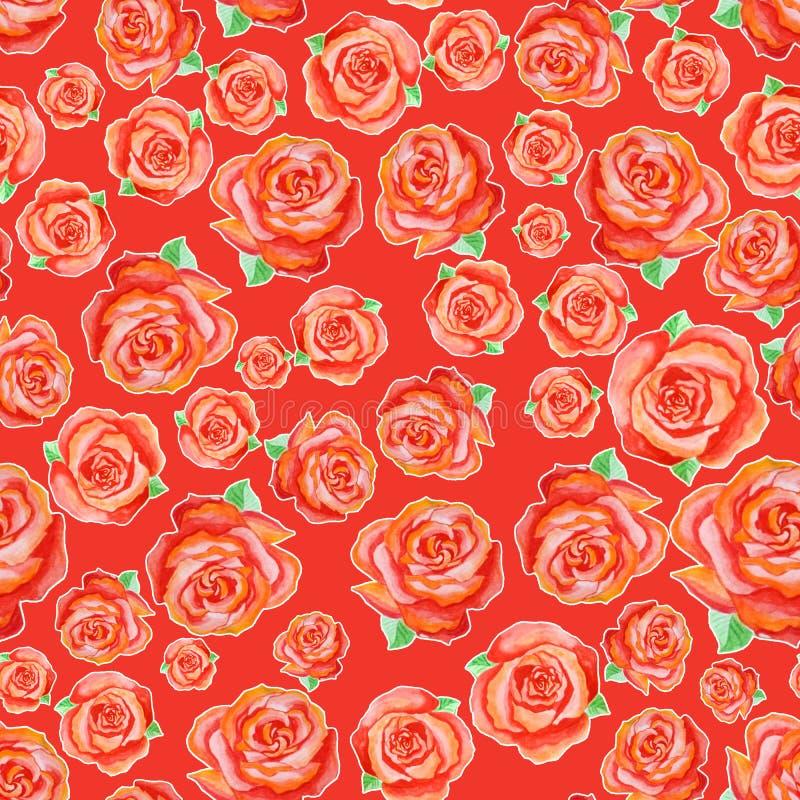 Nahtloses Muster von verschiedenen roten Rosen mit grünen Blättern, nach dem Zufall vereinbart auf einem roten Hintergrund stock abbildung