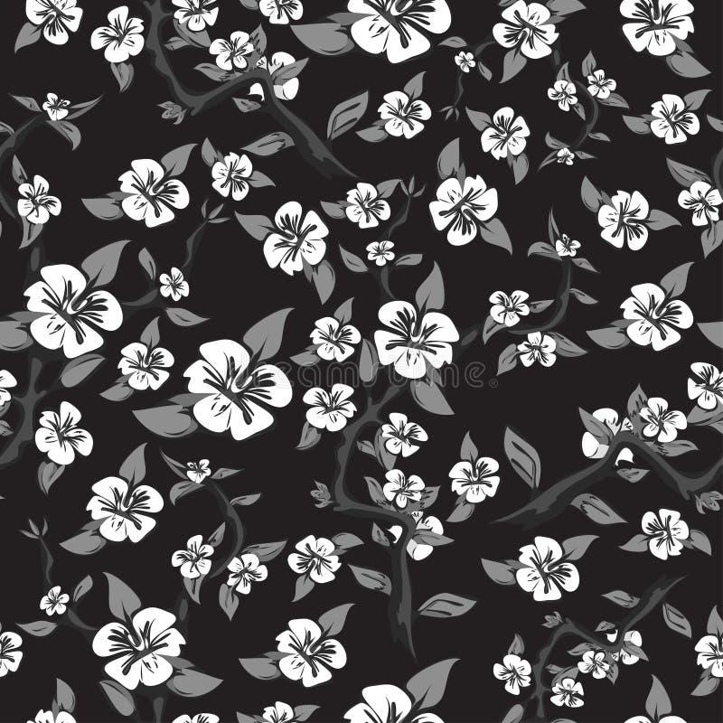 Nahtloses Muster von weißen Blumen auf einem schwarzen Hintergrund Abstrakter blühender Apfelbaum in den Schwarzweiss-Farben stock abbildung
