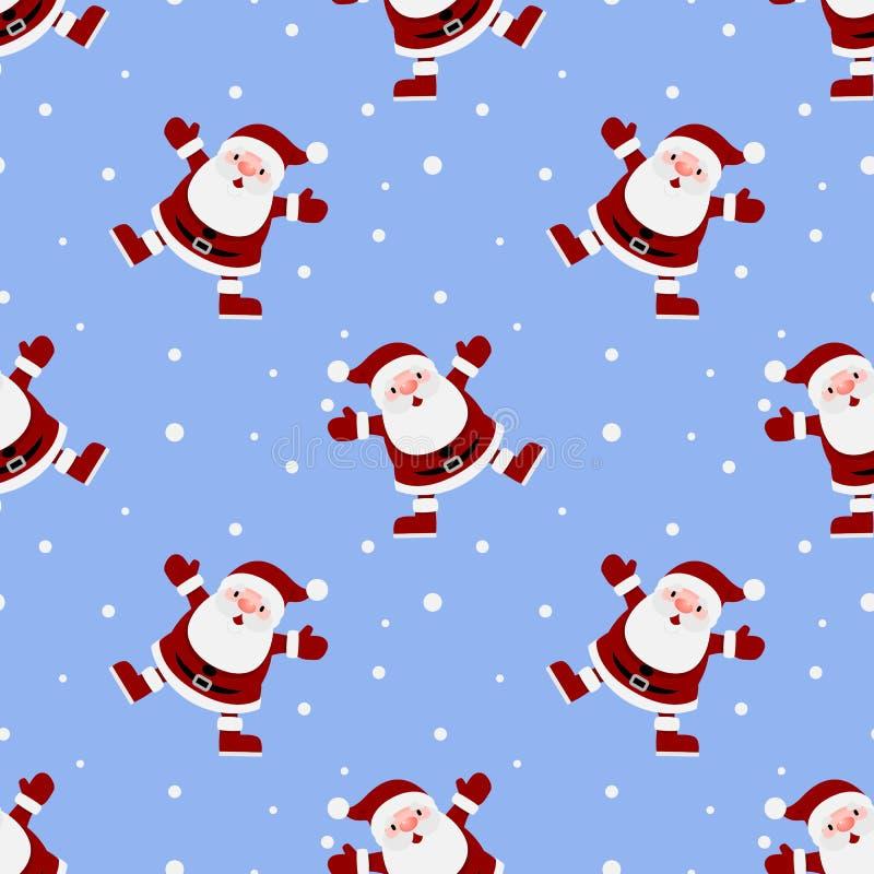 Nahtloses Muster von Weihnachten Weihnachtsmann wiederholbar, ununterbrochener Hintergrund für Feiertagsfeier vektor abbildung