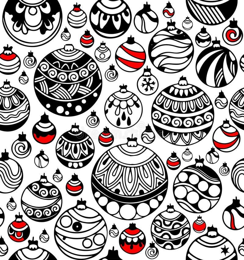 Nahtloses Muster von Weihnachtsbällen mit roten Akzenten auf dem Weiß lizenzfreie abbildung