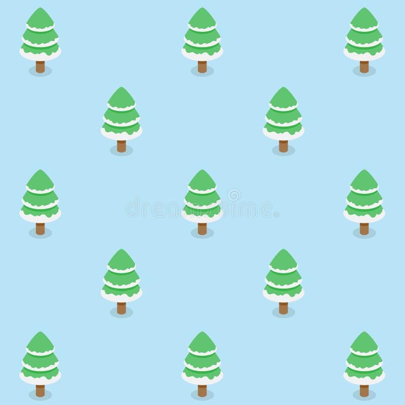 Nahtloses Muster von Weihnachtsbäumen mit ununterbrochenem Hintergrund des weißen Schnees für Feiertagsfeier vektor abbildung