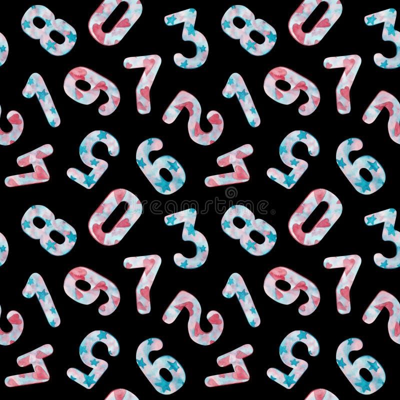 Nahtloses Muster von Zahlen von null bis neun mit Sternen und Herzen auf schwarzem Hintergrund stock abbildung