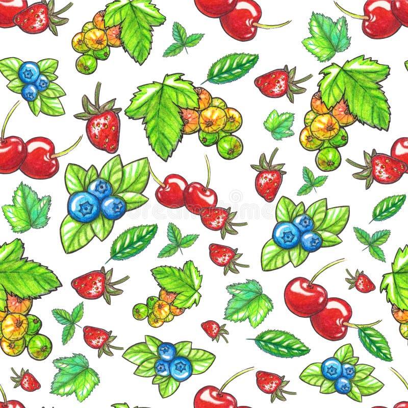 Nahtloses Muster Watecolor mit Beeren und Bl?ttern stock abbildung
