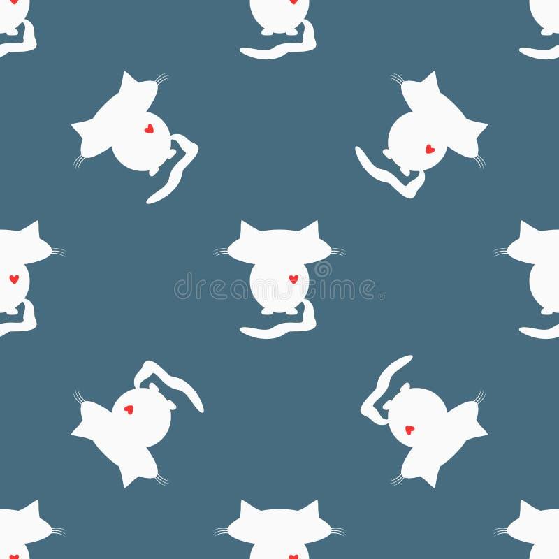 Nahtloses Muster Weiße Schattenbilder von Katzen mit Großköpfen und roten Herzen lizenzfreie abbildung