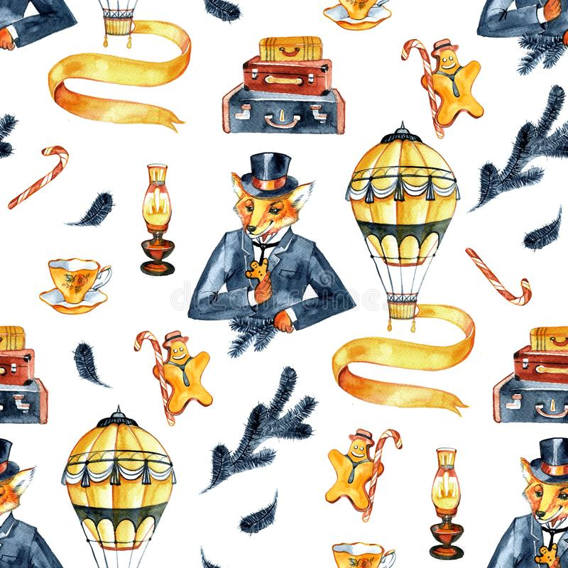 Nahtloses Muster Weihnachtenfox in einem Anzug und in einem Zylinder Das Weihnachten der Herren Weinleseart, altes England, steam vektor abbildung
