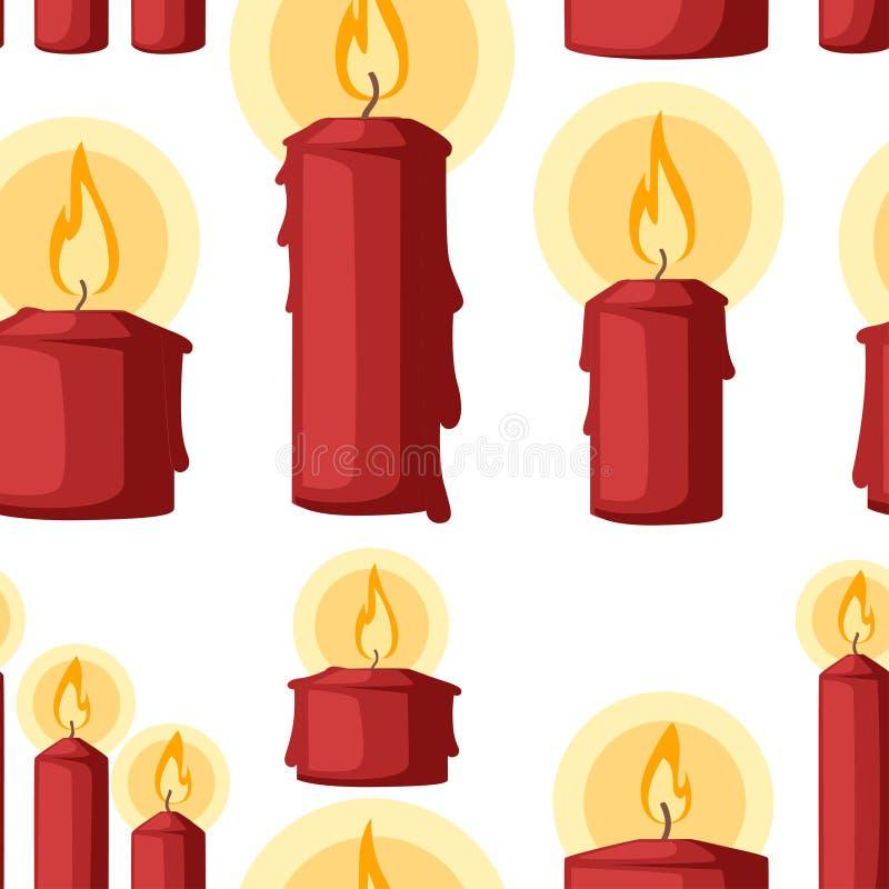 Nahtloses Muster Weihnachtskerze, brennende Wachskerze Flachbild auf weißem Hintergrund vektor abbildung