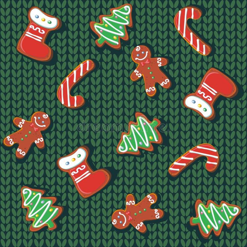 Nahtloses Muster Weihnachtslebkuchenplätzchen auf einem gestrickten Hintergrund Eine Wolldecke Weihnachtsfestlichkeit festlich vektor abbildung