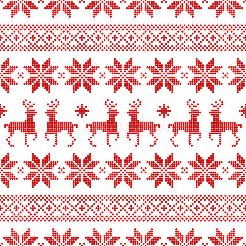 Nahtloses Muster-Weihnachtsnorwegische Art Dots Red And White lizenzfreie abbildung