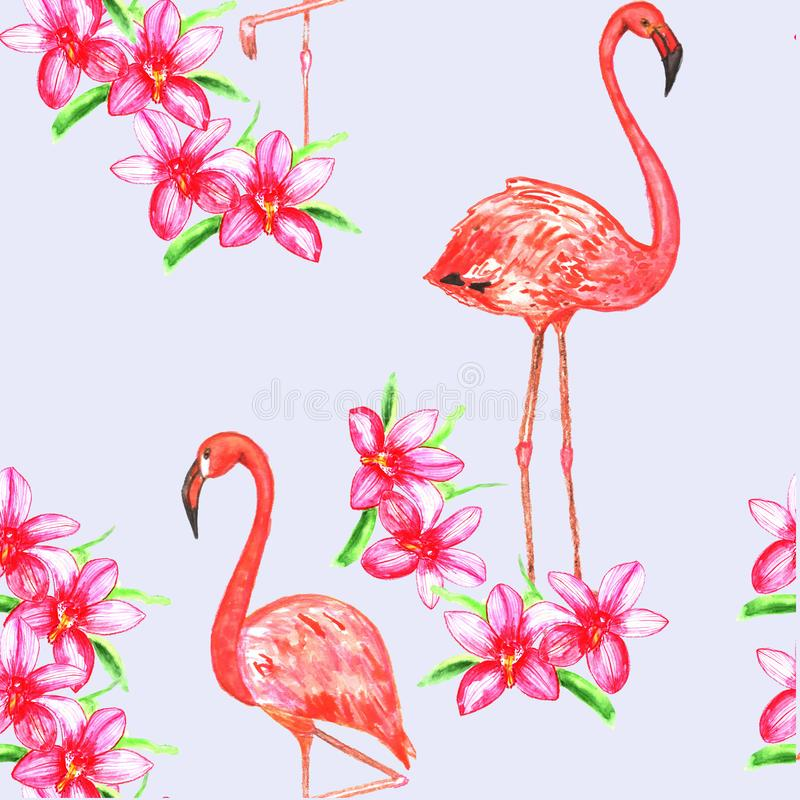 Nahtloses Muster wuth flamindo und Blumen watercolor stock abbildung