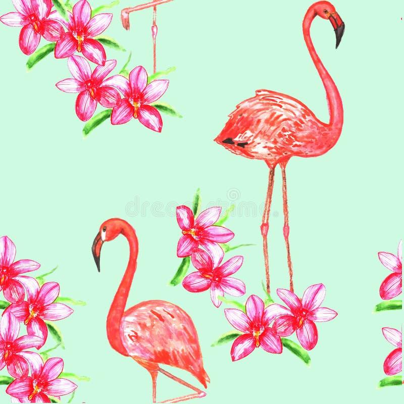Nahtloses Muster wuth flamindo und Blumen watercolor lizenzfreie abbildung