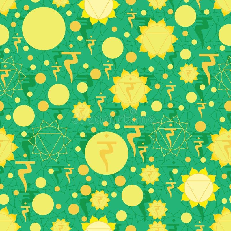 Nahtloses Muster Zeichens Chakra 5 Manipura vektor abbildung